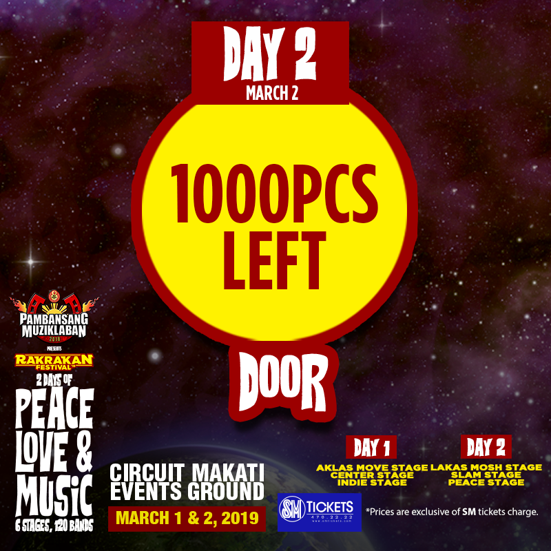 UPDATE FOR DOOR TICKETS – 1000PCS LEFT